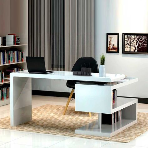 Office, Fascinating Floor To Ceiling Curtain In Front Of Black Back Chair Also White Modern Office Desk ~ Adorable Modern Office Desk Design to Beautify Modern Home Office