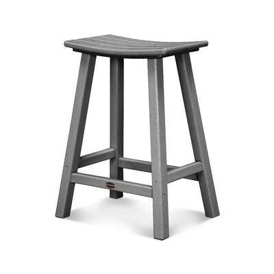 Polywood Traditional 24 Saddle Bar Stool Frame Color Slate Grey