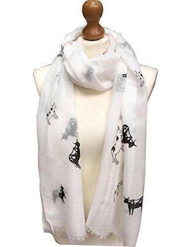 Cow Print Scarf Wrap Ladies Scarf with  Sketch Cows Farm Animals New Design