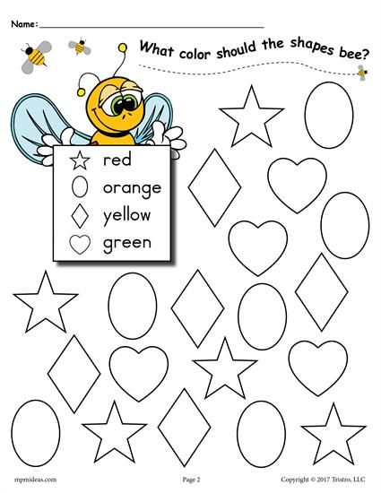 6 Bee Themed Shapes Coloring Pages With Images Shape Coloring
