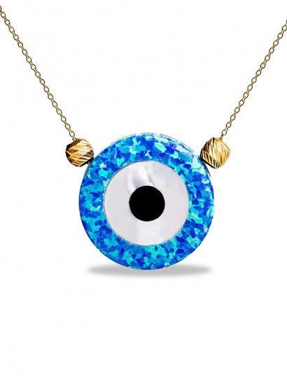 سلسله ذهب عيار 18 سلسلة ذهب عيار 18 بحجر اوبال عين البيع بالقطعة Jewelry Jewelrymaking Love Women Eyes Washer Necklace Jewelry Necklace