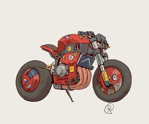i saw akira again and well. Motorcycle Art, Bike Art, Prop Design, Bike Design, Concept Motorcycles, Car Illustration, Cyberpunk Art, Car Drawings, Automotive Art