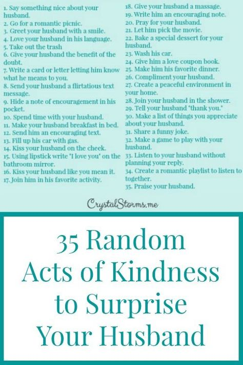 Need some ideas to show your husband you love him? Here are 35 random acts of kindness to surprise your husband