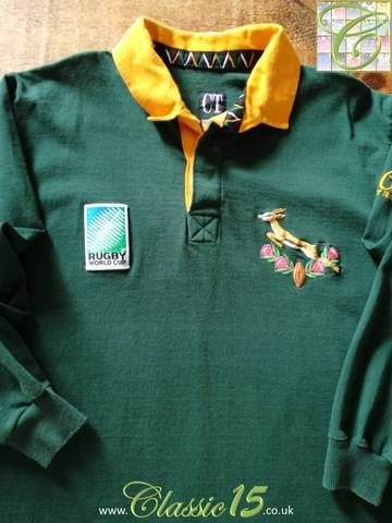 Official Cotton Traders South Africa Home Long Sleeve Rugby Shirt From The 1995 Rugby World Cup Sports Tshirt Designs Long Sleeve Rugby Shirts Rugby