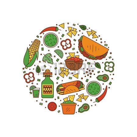 Iconos De Comida Mexicana Vectores Con Imagenes Fotos De