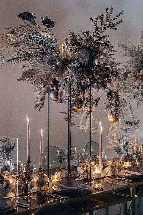 39 Gorgeous Tall Wedding Centerpieces tall wedding centerpieces modern dark with tropical flowers and leaves vindrievsky. Decoration Haloween, Decoration Table, Art Deco Centerpiece, Centerpiece Flowers, Flower Decorations, Wedding Decorations, Christmas Decorations, Decor Wedding, Diy Wedding