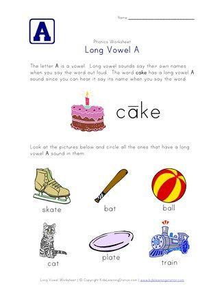 Long Vowel A Sounds Worksheet Long Vowel Sounds Worksheets Long Vowels Long Vowel Worksheets Long vowel sounds worksheets
