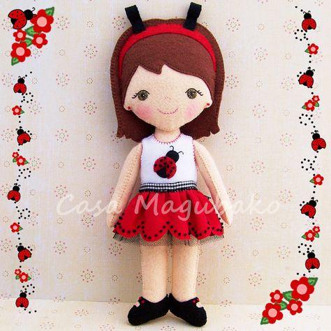 Felt Ladybug Doll Pattern  Doll Tutorial  PDF File by CasaMagubako, $7.95