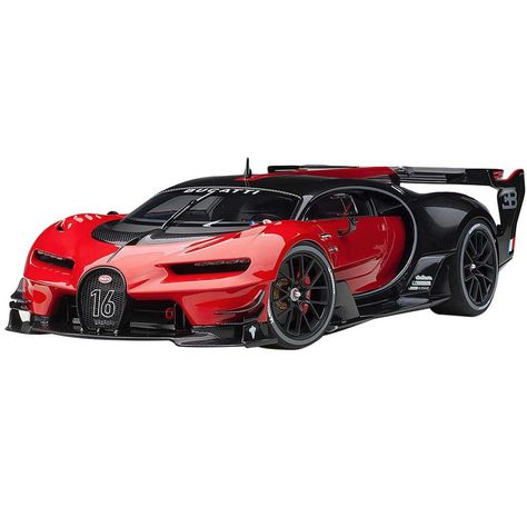 Bugatti Vision Gran Turismo Italian Red and Black Carbon Model Car by Autoart Bugatti Cars, Lamborghini Cars, Bugatti Veyron, Luxury Sports Cars, Best Luxury Cars, Lux Cars, Futuristic Cars, Unique Cars, Sweet Cars