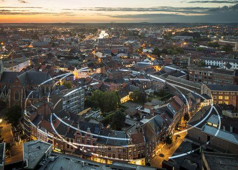 Perspective-dependant artwork painted across Belgian city.