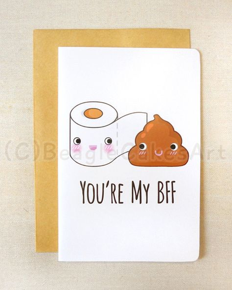 """Here+is+a+hilarious+toilet+paper+&+poop+'Best+Friends+Forever'+card+for+you+to+send+out+to+your+friends+&+family!+:) Measurement+for+card:+4""""+x+6""""+inch+(10.16+x+15.24+cm). Card+is+printed+using+Fuji+Zerox+Laser+Printer+on+pearl+white+cardstock,+and+is+left+blank+inside+for+you+to+write+your..."""