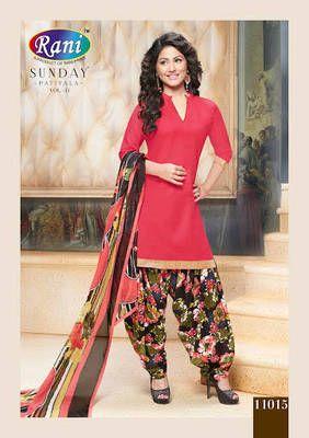 25bd5b947b Kana Fashion Gorgeous Red Cotton Designer Semi Stitched Patiala Suit (2070)  Patiala Salwar Suit