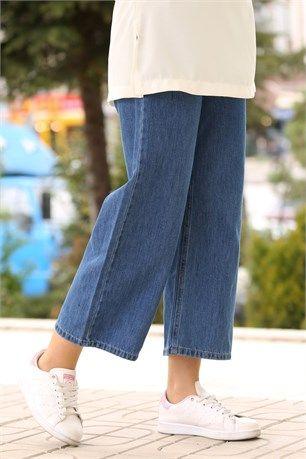 My Magazin 2545 Bol Paca Kot Pantolon Mavi Pantolon Kotlar Giyim