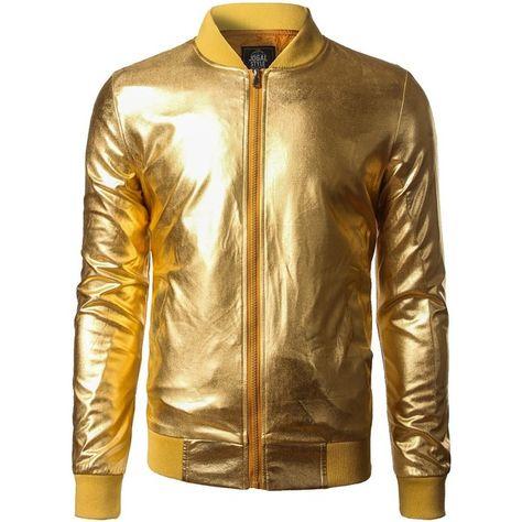 ZEROYAA Mens Night Club Hipster Metallic Shiny Slim Fit Zip Up Jacket