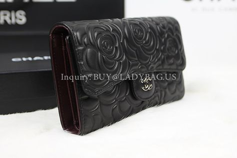 8115a5e2fb8a96 Chanel Camellia Flap Wallet in lambskin Black Code: A31506 Color: Black  exterior, purplish interior Material: Lambskin Size: W18*H10*D3 CM Price:  USD225 ...