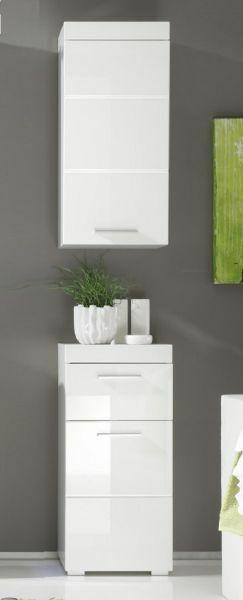 Badmobel Set Weiss Hochglanz Badezimmer Kommode Und Hangeschrank Amanda 2 Teilig Ebay In 2020 Vanity Single Vanity Bathroom Vanity