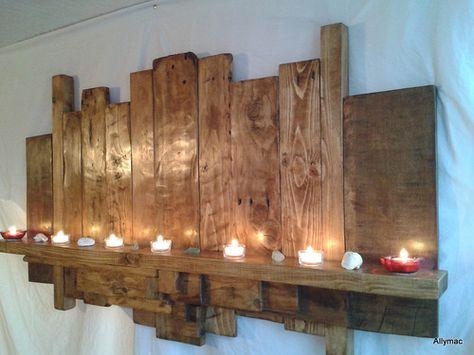 A reclaimed 4ft long solid wood wall sculpture shelf