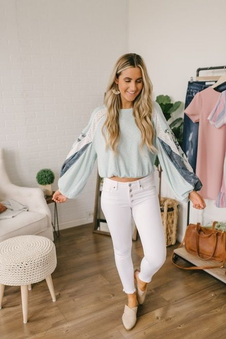 Free People Casual Clash Top - Mint