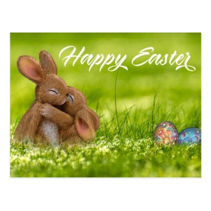 Cute Happy Easter Bunny Eggs Spring Postcard Zazzle Com Happy Easter Wishes Happy Easter Messages Happy Easter Bunny