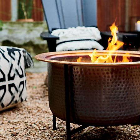 Vitale Solid Copper Firepit Reviews Crate And Barrel Fire Pit Outdoor Entertaining