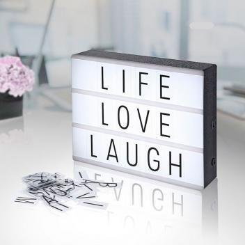 Luminária Lightbox De Cinema Com A Frase Life Love Laugh