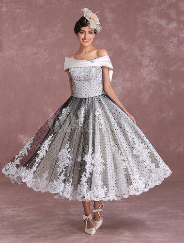 Black Wedding Dresses Vintage Short Bridal Gown Lace Off The Shoulder Polka Dot Print Bridal Dress With Bow At Back Milanoo Short Bridal Gown Wedding Dresses Lace Short Wedding Dress