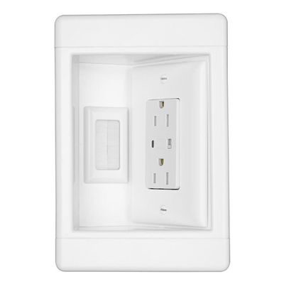 Legrand Wall Plate Tv1wtvsswcc2 2 Gang White Recessed Ft Cable Access Recessed Plates On Wall Recess Metal Swings