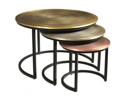 Tables Basses Gigognes Candeur Motifs Sculptes Acier Coloris Dore Argent Cuivre Table Basse Gigogne Table Basse Table Basse Transparente