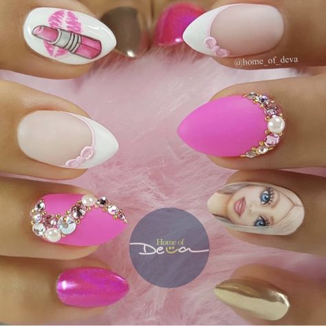 Beautiful hot pink hand painted Barbie nails with Swarovski crystals, gold chrome, and holographic chrome by Ugly Duckling Exclusive Ambassadors @home_of_deva Ugly Duckling Nails page is dedicated to promoting quality, inspirational nails created by International Nail Artists
