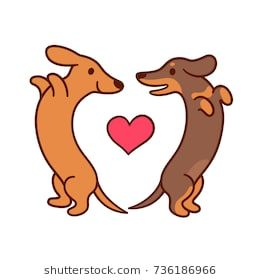 Cute Cartoon Dachshunds In Love Adorable Wiener Dogs Looking At