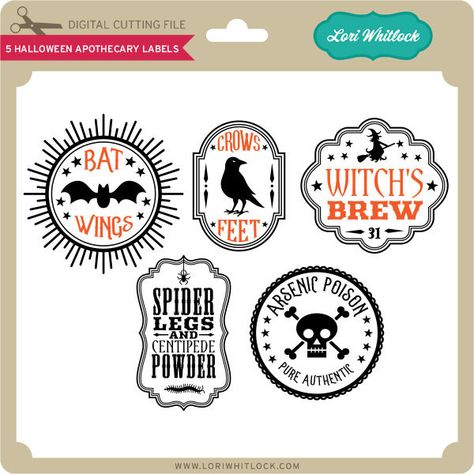5 Halloween Apothecary Labels - Lori Whitlock's SVG Shop