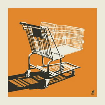 Shopping cart (orange) art print  hand made 2 color screen print  measures 12 x 12 inches  signed & numbered edition of 100  artist:  Mark McDevitt