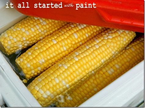 Cooler Corn (@ It All Started With Paint):  Put a giant pot of water on the grill.While it works up to a rolling boil, husk a bunch of ears of corn. Place the shucked ears of corn in a clean cooler. When that water boils, fill the cooler with it.  Corn will stay hot all day long.