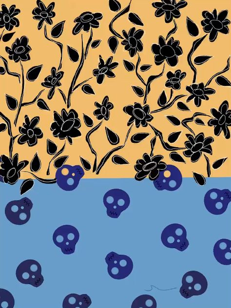 Flowers and skulls print pattern. Black floral with white line detail and royal blue skulls