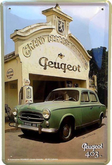 Peugeot 403 Verte - Garage Français - Plaque métal vintage