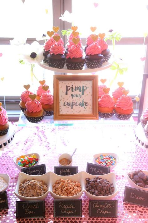 Cupcake station at a Kate Spade bridal shower party! See more party planning ideas at CatchMyParty.com!
