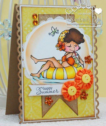 Sparkle Creations Rubber Stamps --- Shopping Lucy --- card design by Kimberley Yu