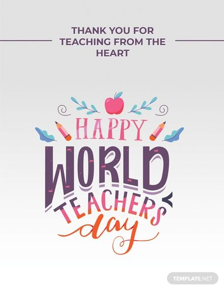 Free World Teachers Day Greeting Card Template Psd World Teacher Day Teachers Day Card World Teachers