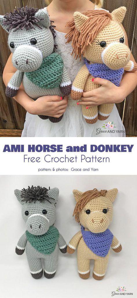 Amigurumi Horse and Donkey Free Crochet Pattern | Crocheting and