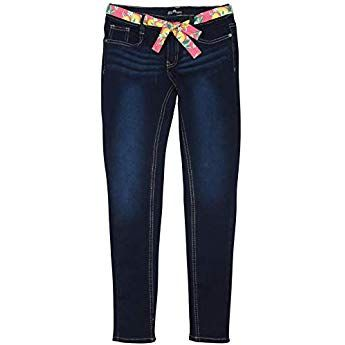 dELiAs Girls Super Stretchy Denim Jeans with Colorful Sash Belt