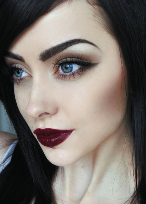 Dark red lips, paired with subtle eye makeup   rainingglitter.com