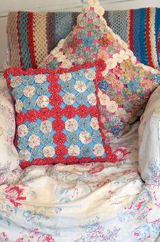 fabric yo-yo pillows