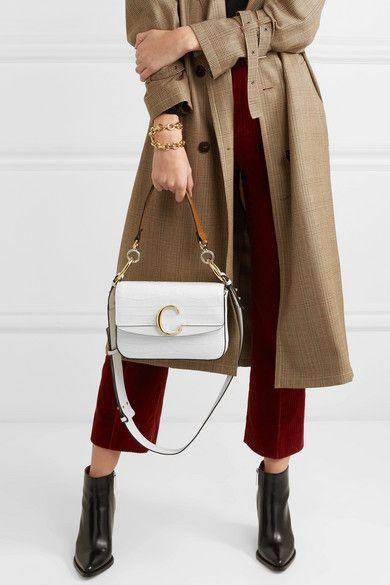 8a4ff7c2 Chloé - Chloé C small leather-trimmed croc-effect shoulder bag in ...