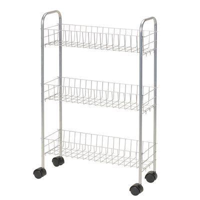 Household Essentials Slimline 3 Shelf Laundry Cart Colour White