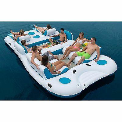 Giant 8 Person Inflatable Raft Pool Ocean Large Floating Island Huge Lake New Ebay In 2020 Lake Rafts Floating Island Raft Inflatable Floating Island