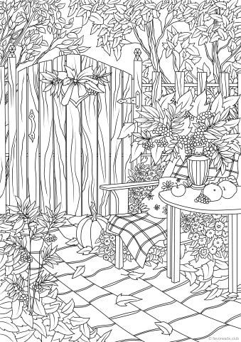 Autumn Garden Fall Coloring Pages Printable Adult Coloring