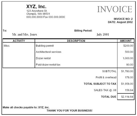 construction+company+invoice+examples Paying Retail Sales Tax - invoice construction