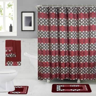 Enno 6 Piece Bath Set Hooks With Images Shower Curtain Sets Bathroom Shower Curtain Sets Bathroom Curtain Set