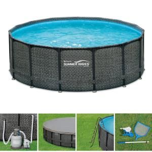 Summer Waves Elite 15 Ft Round 48 In Deep Elite Metal Frame Pool With Sand Filter Cover Surestep Ladder And Maint Kit P4a015483 The Home Depot Summer Waves Pool In Ground Pools