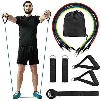 11 Pack N-A Stretch Bands Handles Resistance Bands with Handles Exercise Stretch Fitness Home Set Include 5 Stackable Exercise Bands with Carry Bag Legs Ankle Straps /& Door Anchor